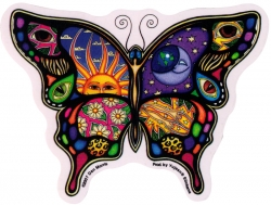 "Night and Day Butterfly - Window Sticker / Decal (5"" x 4"")"