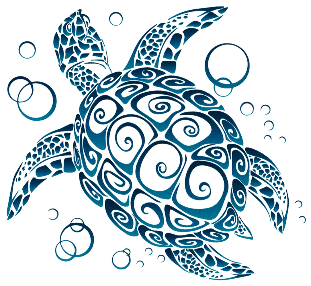 Tribal sea turtle bumper sticker decal 5 x 4 5