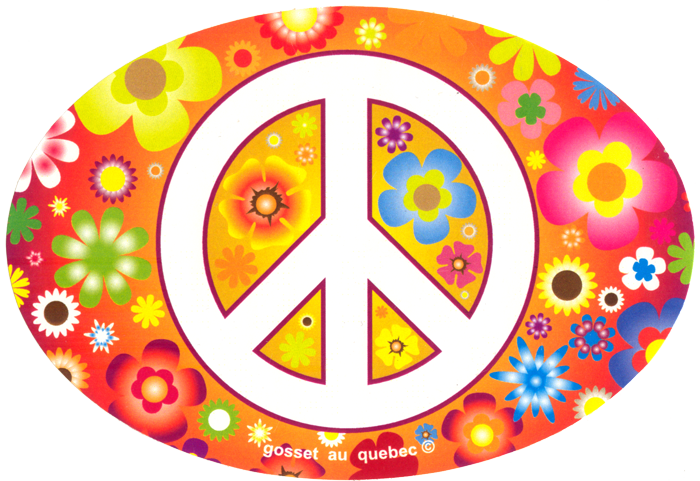 Peace Sign Over Hippie Flowers Small Oval Bumper Sticker