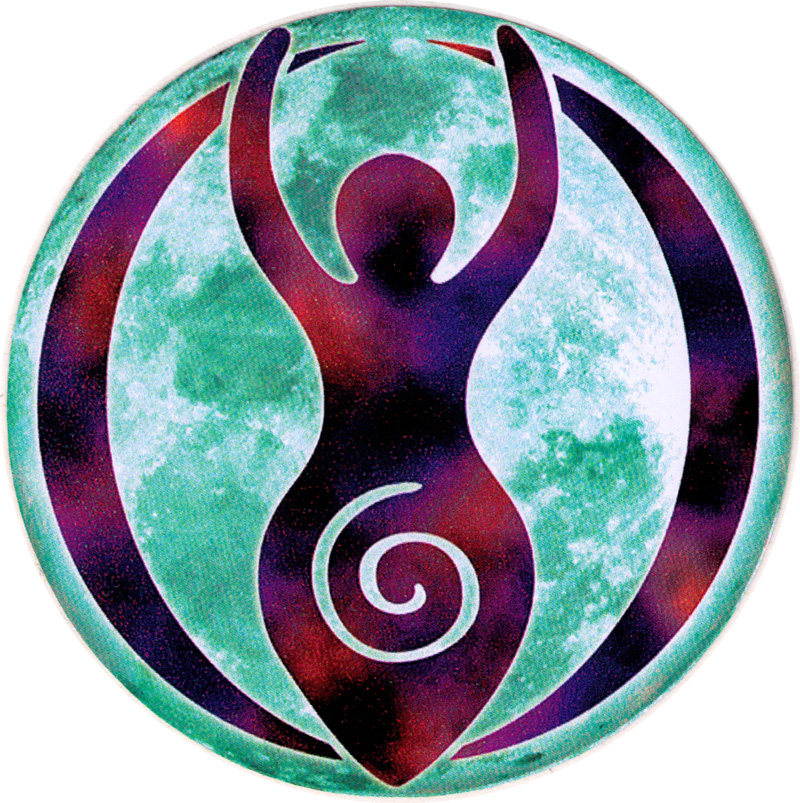 Goddess Moon Small Bumper Sticker Decal 3 Circular Peace