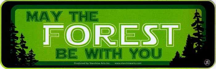 May The Forest Be With You Small Bumper Sticker Decal