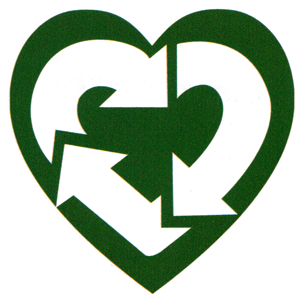 Recycle Heart Small Recycling Bumper Sticker Decal 3 X 3