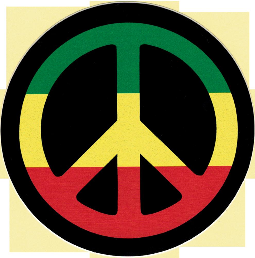 peace sign  rasta colors    decal