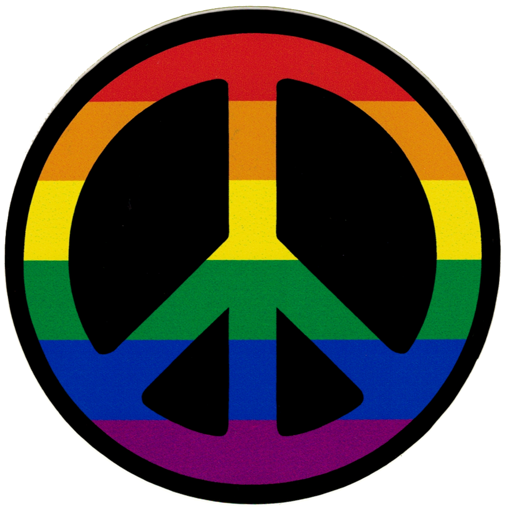 Peace Sign Rainbow Small Bumper Sticker Decal 3 5