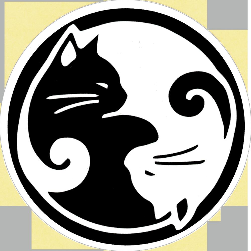 Yin Yang Cats Small Bumper Sticker Decal 3 Circular Peace