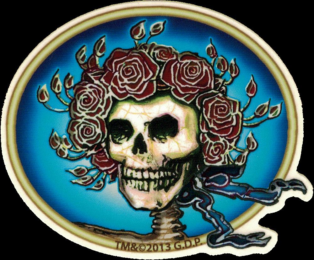 Grateful Dead Skull Amp Roses Small Bumper Sticker Decal