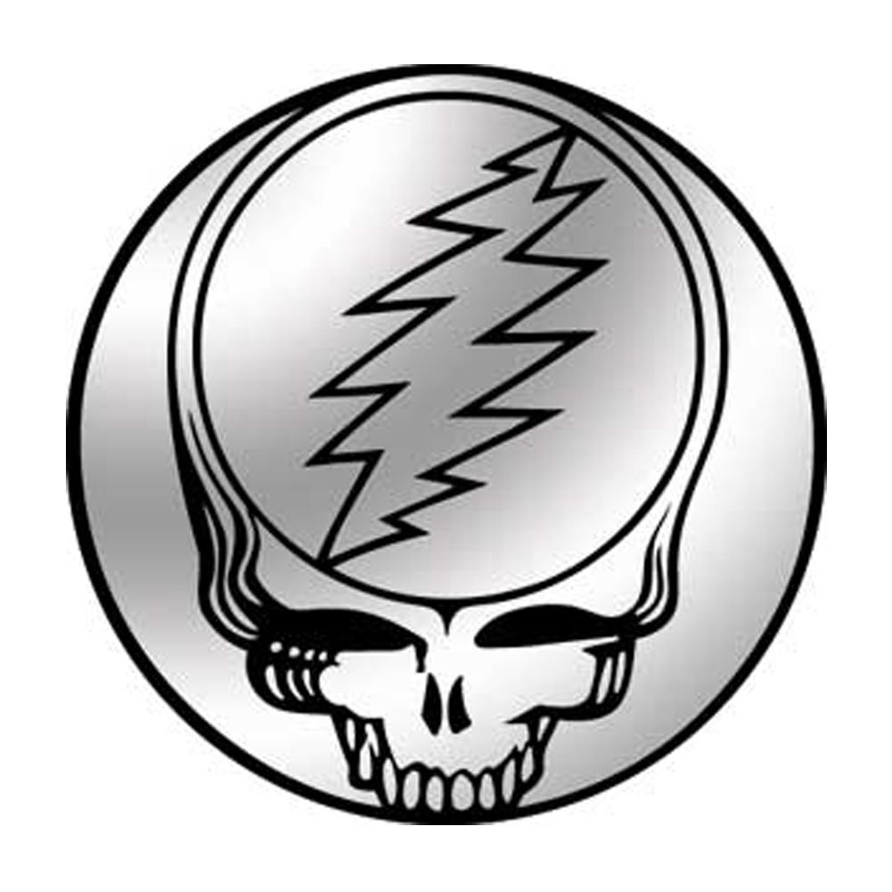 Grateful Dead Chrome Steal Your Face Small Bumper Sticker Decal