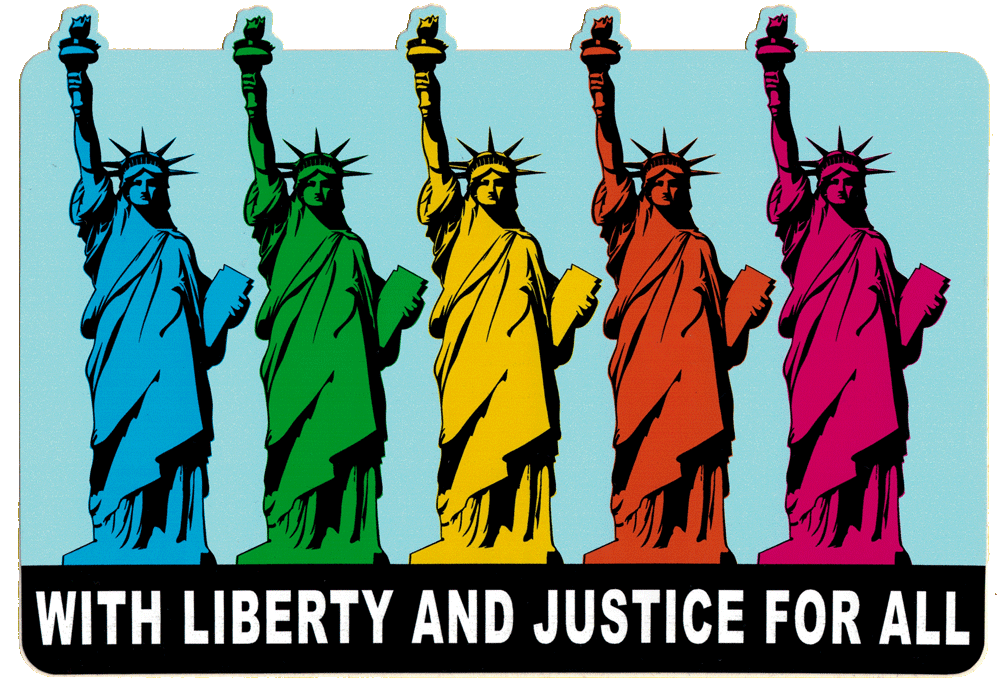 With Liberty And Justice For All Small Bumper Sticker