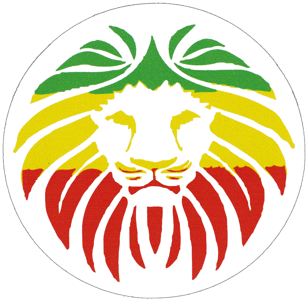 Rasta lion face small bumper sticker decal 3 circular
