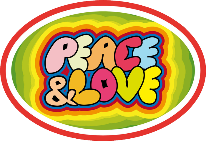 Peace And Love Oval Small Bumper Sticker Decal 3 5 Quot X