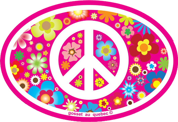 Peace Sign On Hippie Flowers Small Oval Bumper Sticker Decal