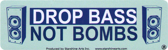 "Drop Bass Not Bombs - Small Bumper Sticker / Decal (5.5"" x ..."