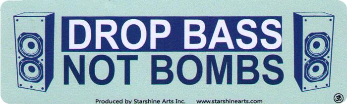 """Drop Bass Not Bombs - Small Bumper Sticker / Decal (5.5"""" x ..."""