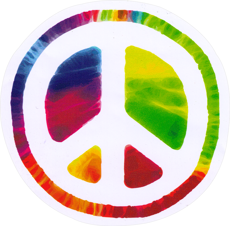 Psychedelic peace sign bumper sticker decal 4 75 circular