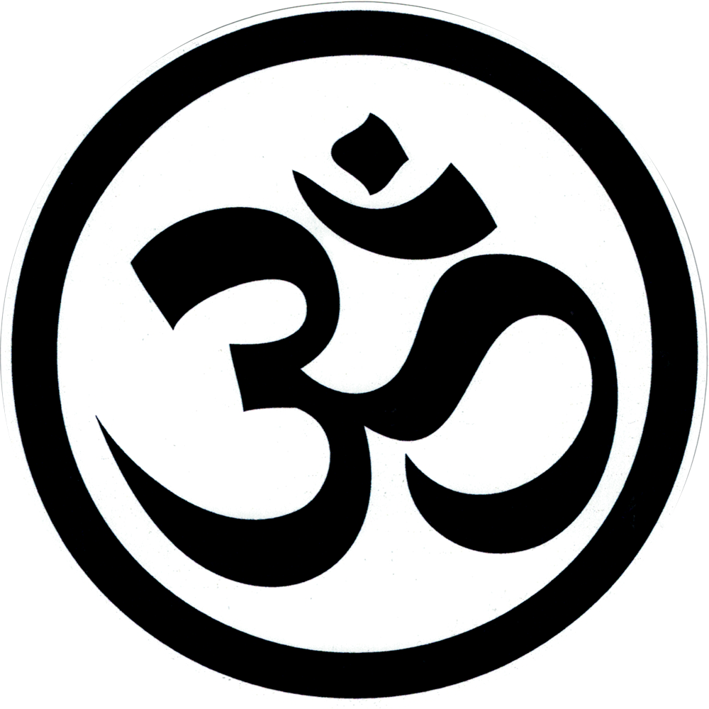 Black White Om Symbol Bumper Sticker Decal 45 Circular