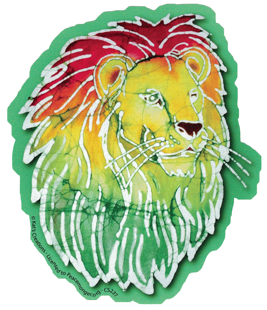 Rasta lion batik bumper sticker decal 4 75 x 5 5