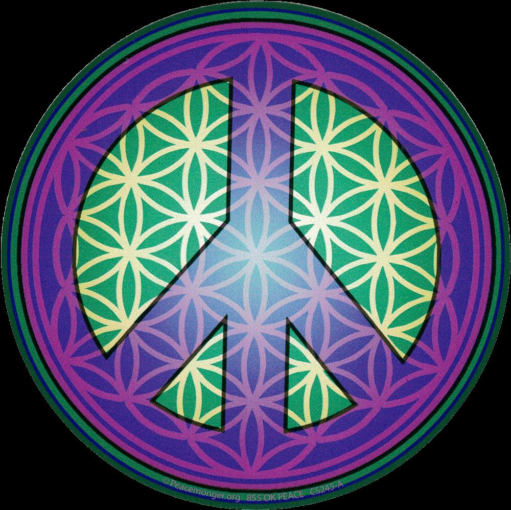 Flower Of Life Peace Symbol Purple Bumper Sticker