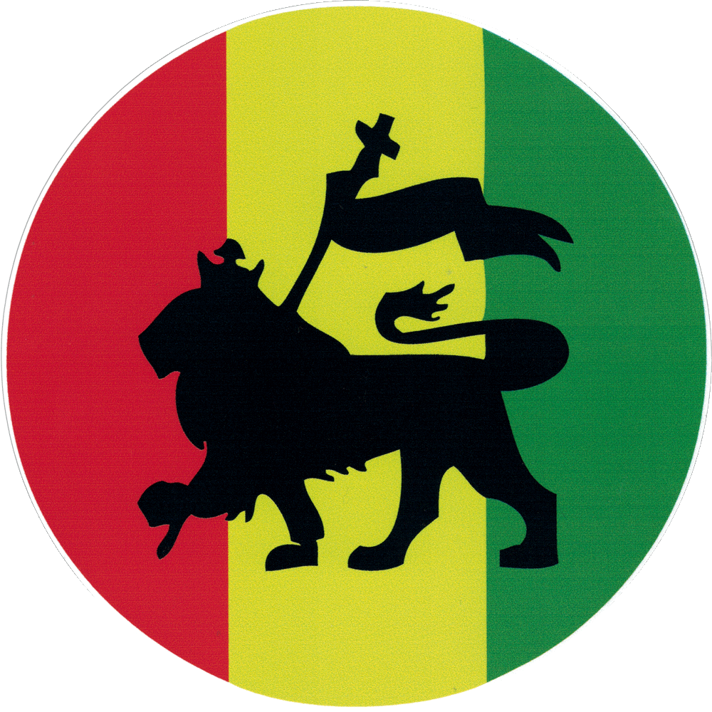 Rasta lion bumper sticker decal 4 5 circular