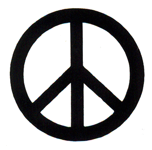 Black Over White Peace Sign Small Bumper Sticker Decal