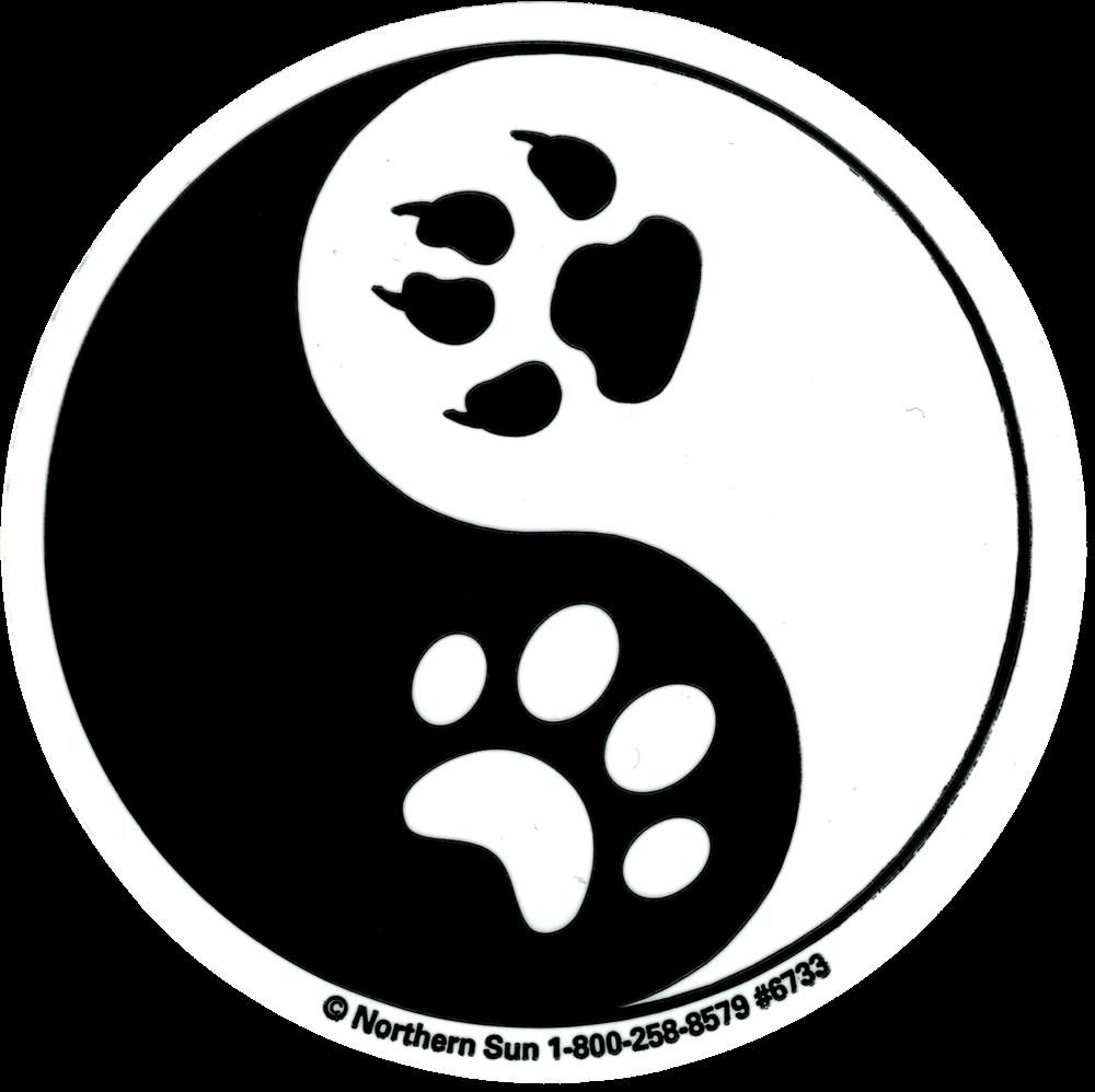 Yin Yang Paw Prints Small Bumper Sticker Decal 3 Circular