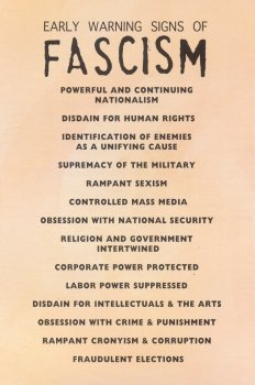 Early Signs Of Fascism >> The Early Warning Signs Of Fascism Postcard Peace Resource Project