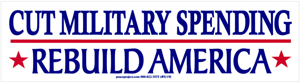 Cut military spending rebuild america bumper sticker decal 9 25 x 2 5