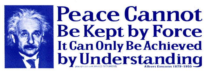 Peace cannot be kept by force it can only be achieved by understanding albert einstein bumper sticker decal 8 25 x 3