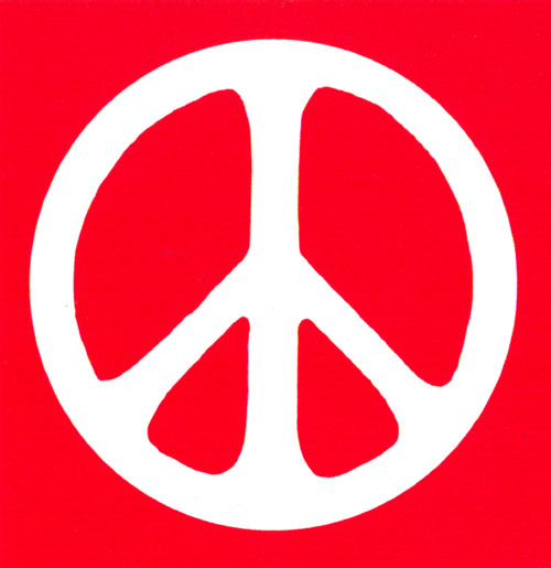 Peace sign white over red bumper sticker decal 4 x 4