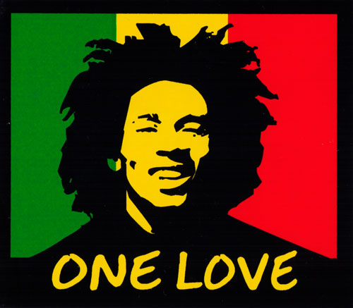 One Love   Rasta Colors With Bob Marley   Bumper Sticker / Decal (4.25