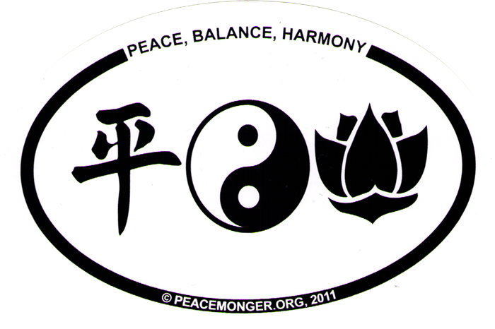 Peace Balance Harmony Bumper Sticker Decal 6 X 4 Peace