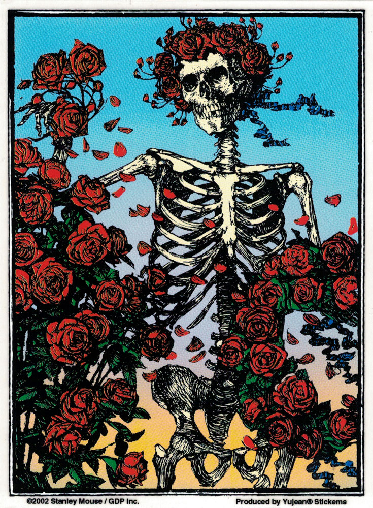 Grateful Dead Skull and Roses - Window Sticker / Decal (4.25\