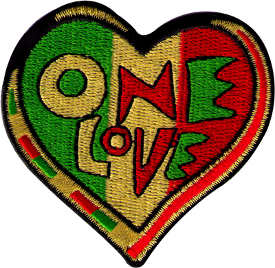 One Love Heart Rasta Colors Patch Peace Resource Project