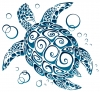 "Tribal Sea Turtle - Bumper Sticker / Decal (5"" X 4.5"")"