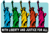 """With Liberty and Justice for All - Small Bumper Sticker / Decal (5.5"""" X 4"""")"""