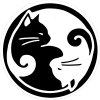 "Yin Yang Cats - Bumper Sticker / Decal (4.25"" Circular)"