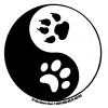 "Yin Yang Paw Prints - Small Bumper Sticker / Decal (3"" Circular)"