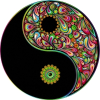 "Love Harmony Yin Yang Symbol - Bumper Sticker / Decal (4.5"" circular)"
