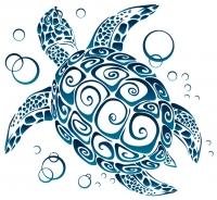 "Tribal Sea Turtle - Bumper Sticker / Decal (5"" X 4.5"")"