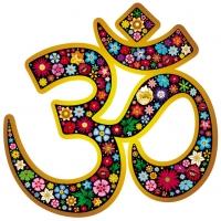 """Om Aum Namaste Floral Yoga Symbol - Bumper Sticker / Decal (4.5"""" X 4.75"""")"""