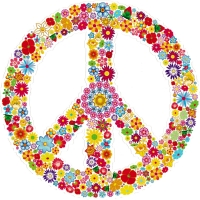 "Hippie Love Floral Peace Symbol - Bumper Sticker / Decal (4.5"" circular)"