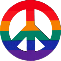 CMP7 - Rainbow Peace Sign - Vehicle Magnet