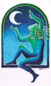 Woman Embracing the Moon - Window Sticker / Decal
