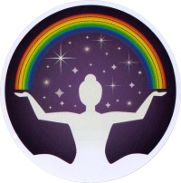 "Rainbow Woman - Window Sticker / Decal (4.5"" Circular)"