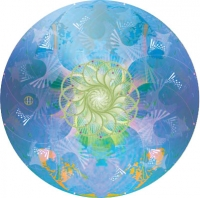 "Entering Wave Forms - Water Mandala - Window Sticker / Decal (4.5"" Circular)"
