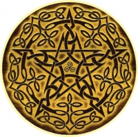 "Wood Pentacle - Window Sticker / Decal (4.5"" Circular)"