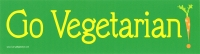 "Go Vegetarian - Bumper Sticker / Decal (11"" X 3"")"