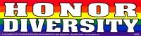 "Honor Diversity - Bumper Sticker / Decal (11.5"" X 3"")"