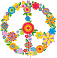 Flower Peace Sign - Bumper Sticker / Decal