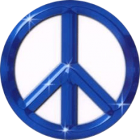"Blue Peace Sign - Bumper Sticker / Decal (4.5"" X 4.5"")"