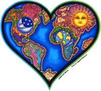 "Earth Heart - Bumper Sticker / Decal (4.5"" X 4.5"")"